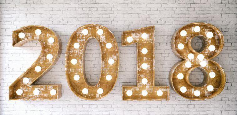 New Year Concept with 2018 Bulb Sign